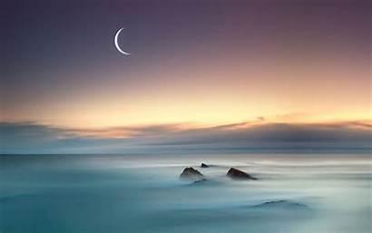 Moon Sea Superb Nature Above Wallpapers Desktop