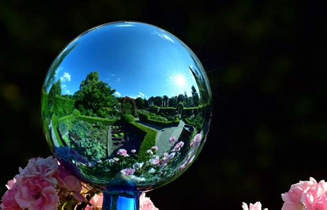 picture flower glass outdoor ball mirror