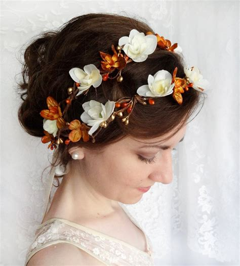Fall Wedding Flower Crown Autumn Bridal Hair Accessories