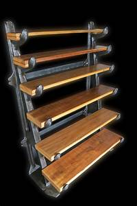 Antique, Industrial, Shelving, Early, 1900, U0026, 39, S, Cast, Iron, Pipe, Rack, Turned, Into, Shelving