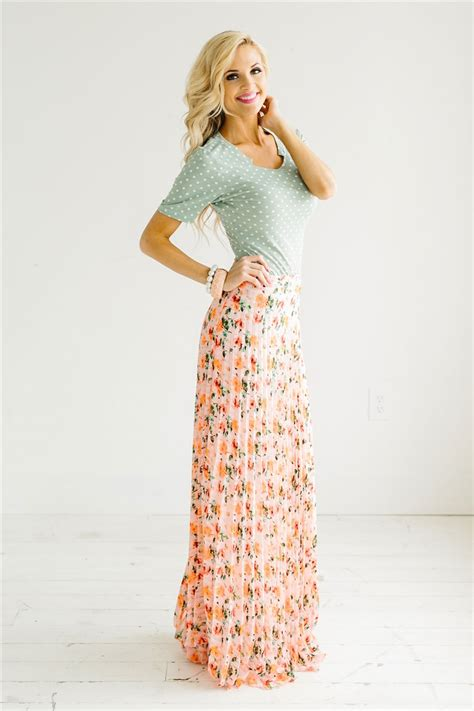 Pink Floral Pleated Maxi Skirt Modest Dresses And