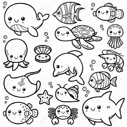 Coloring Ocean Animals Pages Printable Animal Sheet