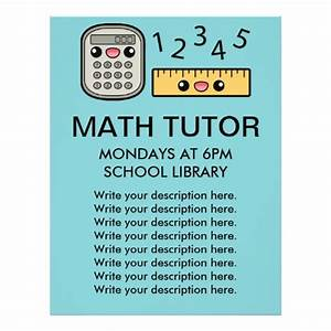 Cute calculator and ruler math tutor template custom flyer for Math tutoring flyer template