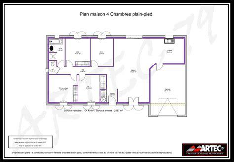plan maison 120m2 4 chambres modele maison 4 chambres immobilier pour tous