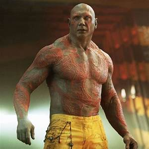 Dave Bautista as Drax the Destroyer, tattooed | Cultjer