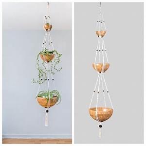 suspension plantes macrame 3 etages bymadjo bouddha deco With salle de bain design avec noeuds décoration pour paquets cadeaux