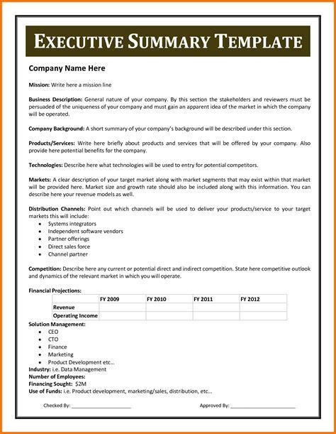 resume executive sumary format executive summary template exle mughals