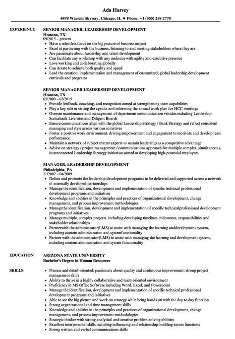 manager leadership development resume sles velvet