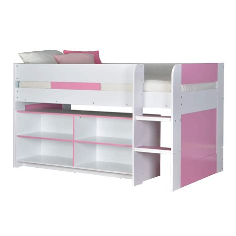 Cabin Bed Mid Sleeper Kids Bed 3ft Single With Ladder Pink