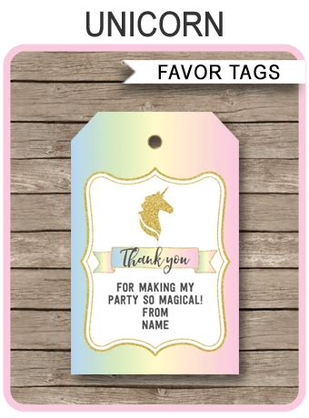 unicorn favor tags template unicorn theme   tags