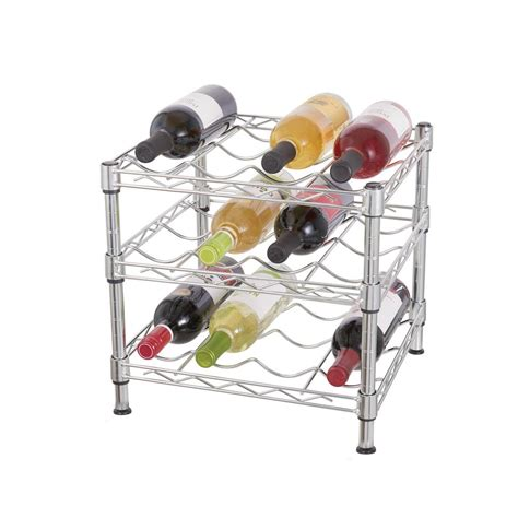 countertop wine rack hdx 3 tier wire countertop wine rack in chrome hhbfz 2601