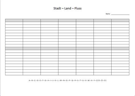 13 leere tabellen vorlagen zum ausdrucken   bewerbung. Stadt Land Fluss Vorlage Leer - Xobbu