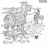 Horse Wooden Cartoon Hitchhiker Cartoons Funny Trojan Troy Cartoonstock Coloring Template Myths Legends sketch template