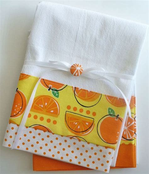 Kitchen Towel Fabric by Kitchen Towels With Orange Fruit Pattern Cotton Fabric