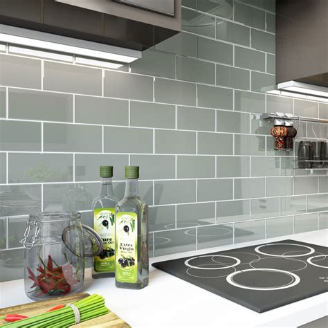 "Glass Subway Tile (true Gray)  3"" X 6"" Piece  Subway"