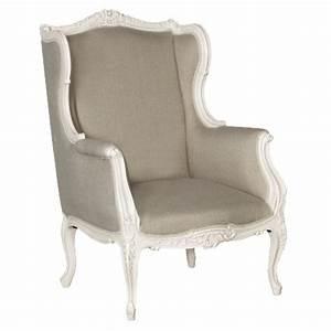 Fauteuil Bergère À Oreilles : fauteuil berg re oreilles en acajou blanc tissu lin gris ~ Nature-et-papiers.com Idées de Décoration