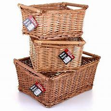 Wicker Storage Basket Set Handles Wooden Log Xmas Gift