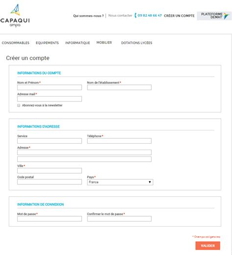 lettre de demande de fourniture de bureau ampa capaqui identifiant client
