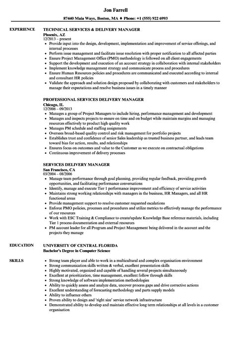 services delivery manager resume sles velvet