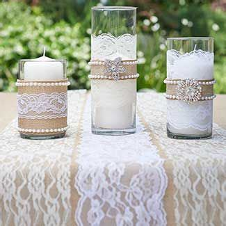 burlap pearls brooches lace vase accents wedding