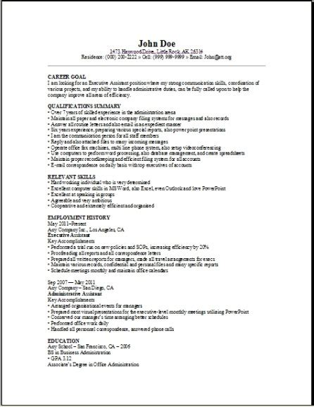 executive assistant resume sample occupationalexamples