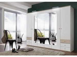 Armoire 6 Portes : armoire 6 portes 6 tiroirs bergen blanc chene ~ Teatrodelosmanantiales.com Idées de Décoration