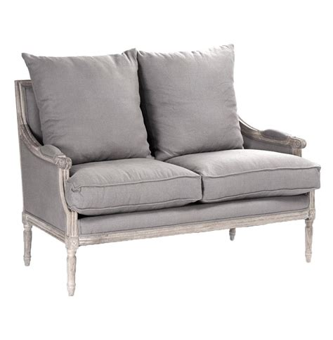Country Settee by St Germain Country Limed Oak Louis Xvi Grey Linen