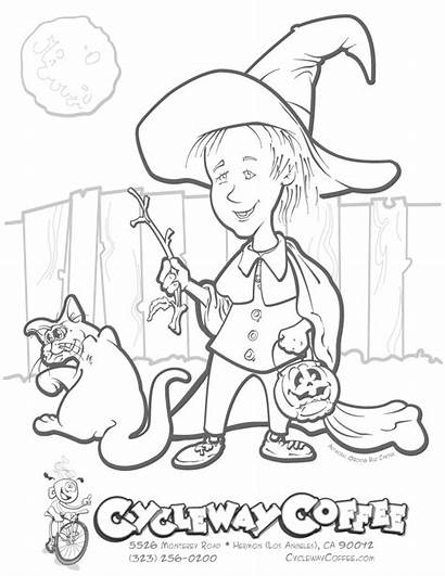 Coloring Halloween Pages Witch Cat Printables Printable