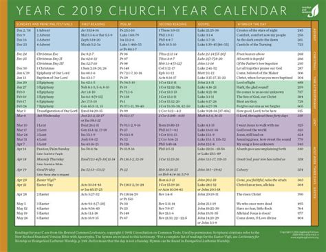 sundays seasons calendars