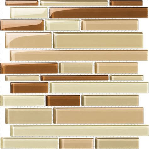 glossy brown cocoa mix glass stick mosaic tile mesh backed