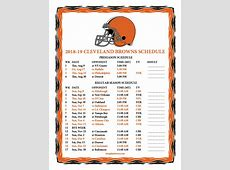 Printable 20182019 Cleveland Browns Schedule