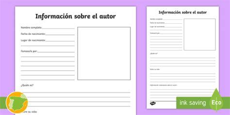 * New * Ficha De Actividad Información Sobre El Autor  Libro, Libros