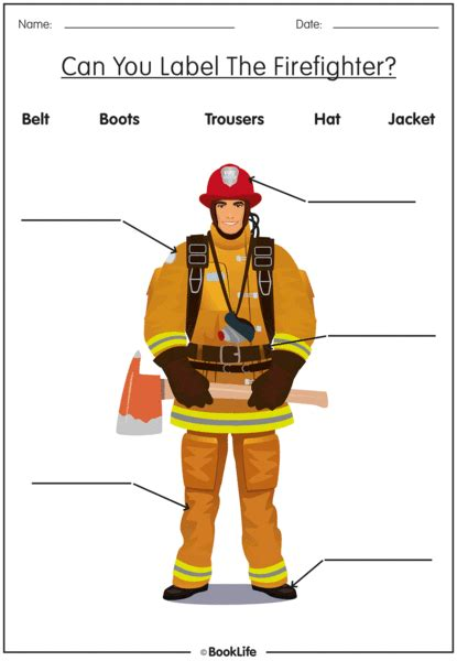 activity sheet   label  firefighter