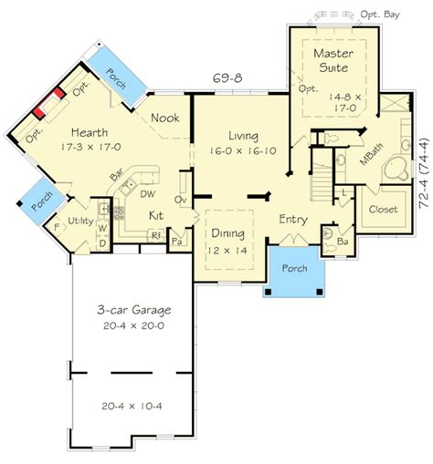 Floor Plans With Hearth Room by Angled Hearth Room House Plan 68048hr Architectural