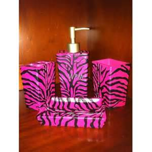 bath accessory set 4 pc pink black zebra bathroom