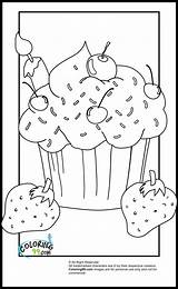 Coloring Pages Cupcake Cupcakes Strawberry Sprinkles Ice Cream Sheets Adult Colouring Teamcolors sketch template