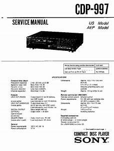 Sony Cdp-997 Service Manual