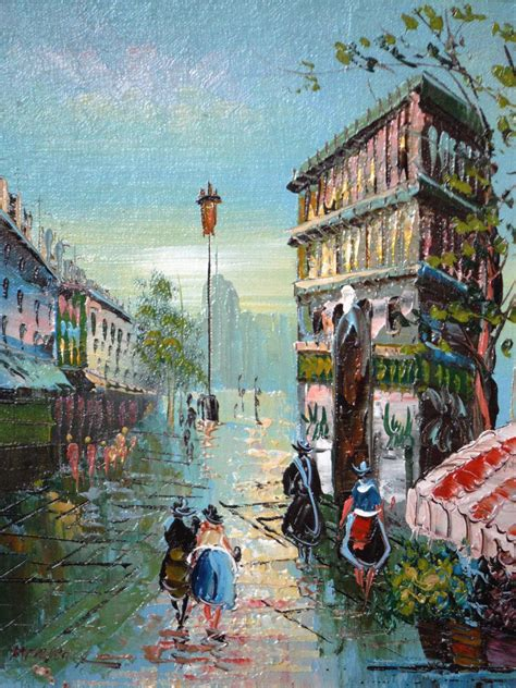 I Have An Original Oil Painting Paris Street Scene, Label ...