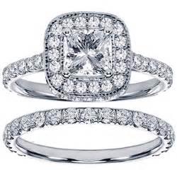 engagement ring wedding band set 14k white gold 2ct tdw princess bridal ring set wedding fashion