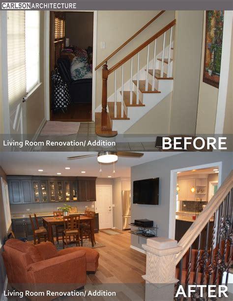 Living room renovation. Wall mounted flat panel TV. Open