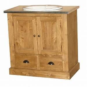 Meuble de salle de bain une vasque en pin massif for Meuble salle de bain en pin naturel