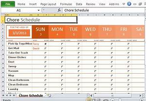 weekly chore schedule organizer for excel With house chore schedule template