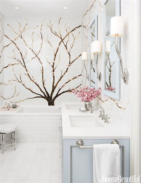 mural bathroom cherry blossom tile mural