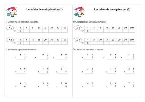 Exercice Table De Multiplication Ce1 A Imprimer