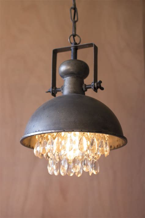 pendant metal light hanging lighting lamp industrial crystals crystal farmhouse gems lamps lights rustic decor dome gun ceiling kitchen pendants