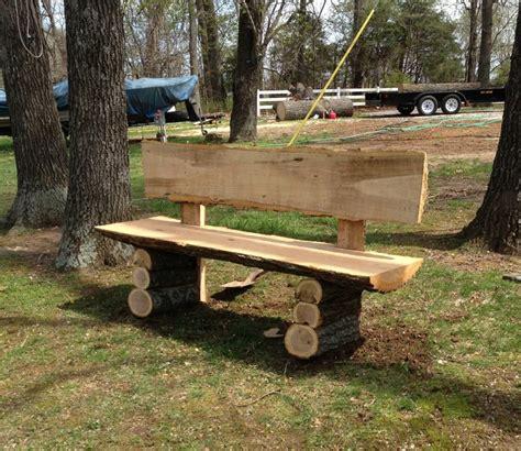 wood log bench wood slab bench by kelsky lumberjocks