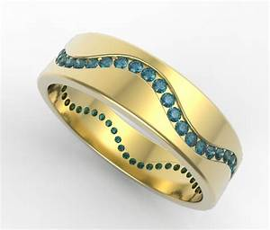 mens wedding band unique 14k yellow gold blue diamonds With men s wave wedding ring
