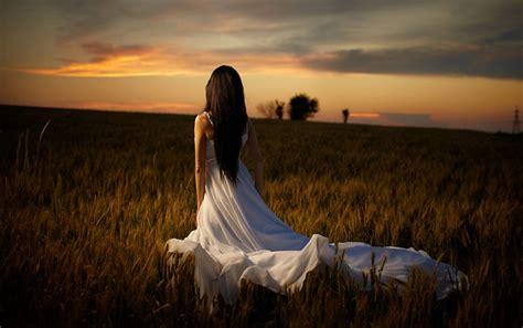 Woman White Dress & Field Wallpapers  Woman White Dress