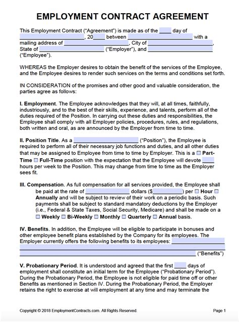 employment contract template sample philippines