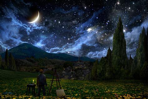 vincent van gogh  starry night crescent moon